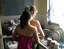 lesbian sex kitchen